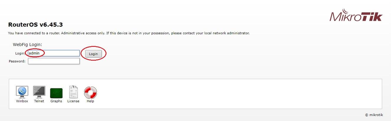 Přihlášení do routeru Mikrotik