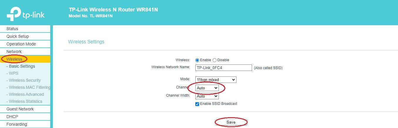 Změna kanálu routeru TP-Link