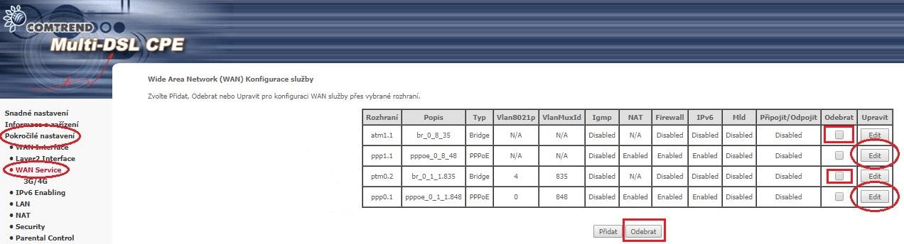 Cesta k nastavení PPP modemu Comtrend VR-3031eu