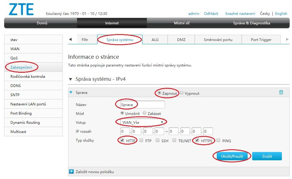 Povolení vzdálené správy modemu ZTE ZXHN H168N