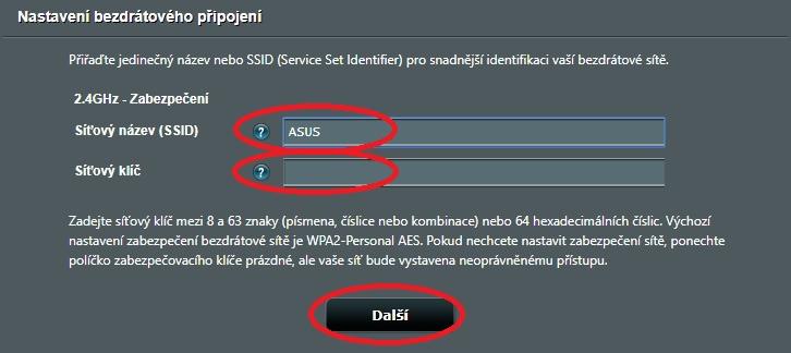 Nastavení Wi-Fi sítě modemů ASUS