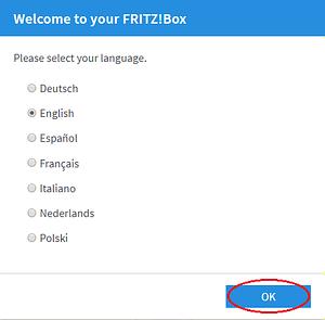 Výběr jazyku modemu FRITZ!Box 7530 a 7590