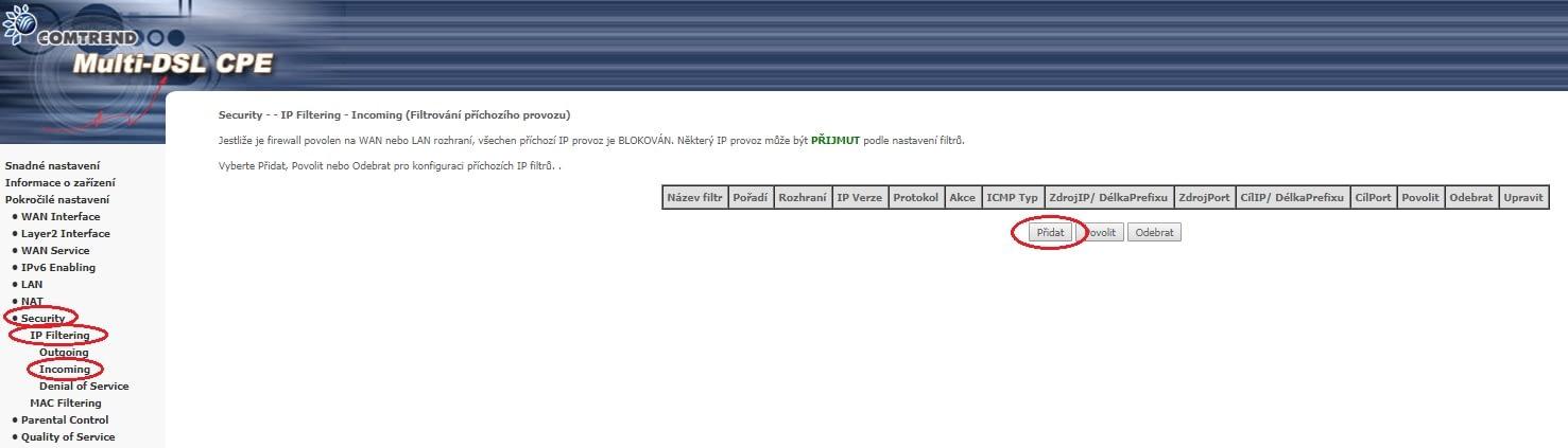 Cesta k nastavení vzdálené správy modemu Comtrend VR3031-eu