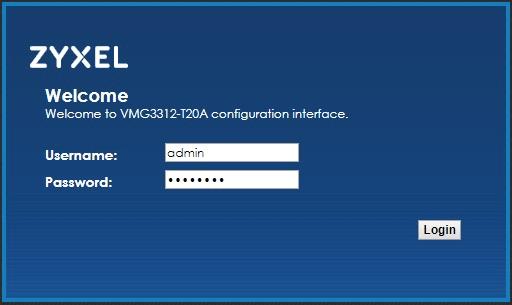 Přihlašovací okno modemu Zyxel VMG3312-T20A